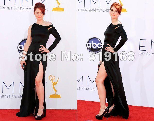 586cdf79ba Alexandra Breckenridge 2012 Emmy Awards Red Carpet Dress Sheath Slit One  Shoulder Satin Black Evening Gown IWD10101-in Celebrity-Inspired Dresses  from ...