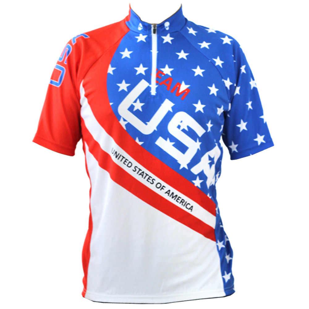 Alien SportsWear USA Pentagramm Muster Männer Kurzarm Bike Jersey Sommer Blau Kurzarm Radfahren Bekleidung Größe XS Bis 5XL