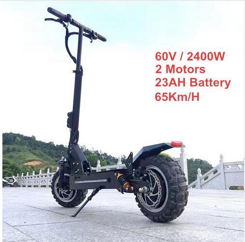 201811 дюйма Off Road Электрический скутер 60 В 2400 Вт 65 км/ч мощная Новый складной электрический велосипед раза hoverboad велосипед самокатов