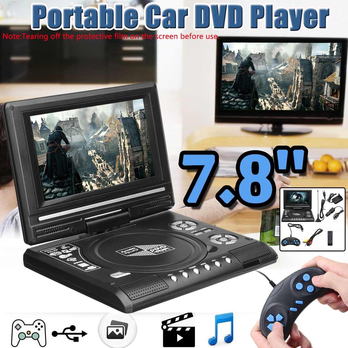 7.8 Polegada portátil hd tv casa carro dvd player vcd cd mp3 leitor de dvd usb cartões sd rca tv portatil cabo jogo 16:9 girar tela lcd
