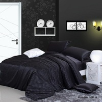 Duvet cover Bedding set luxury grid smooth Silk Blended Silk Wedding Bedding Luxury bed Set Queen size For 1.8 2.2m bed