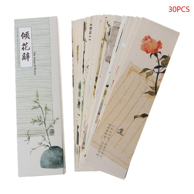 30pcs Creative Chinese Style Paper Bookmarks Painting Cards Retro Beautiful Boxed Bookmark Commemorative Gifts