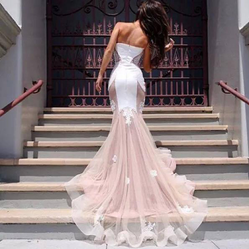 Vestidos de novia mermaid white and pink wedding dress 2016 lace vestidos de novia mermaid white and pink wedding dress 2016 lace applique elegant wedding gown casamento abiti da sposa cheap in wedding dresses from junglespirit Image collections