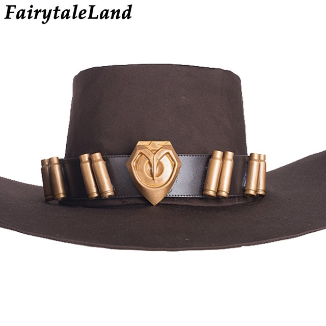 f8f1397d4e5 Jesse McCree hat Halloween cosplay accessories for adult Game OW Jesse  McCree Cosplay accessory fancy Cowboy
