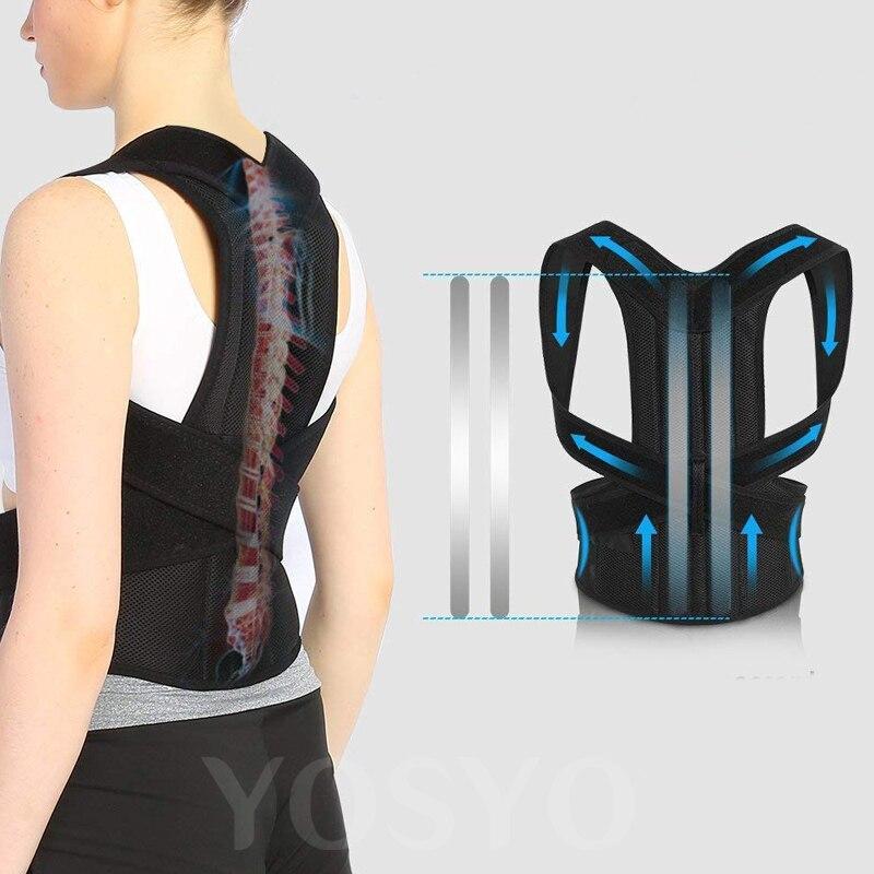 Corrector de postura para hombres y mujeres espalda postura Brace clavícula soporte para dejar de encorvarse y corazonar entrenador de espalda ajustable