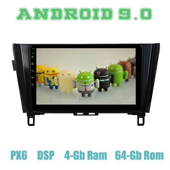 """PX6 10.2"""" Android 9.0 Car GPS Radio Player for for nissan X-trail Qashqai 2014-2018 with 4+64GB Auto Stereo Multimedia Headunit"""