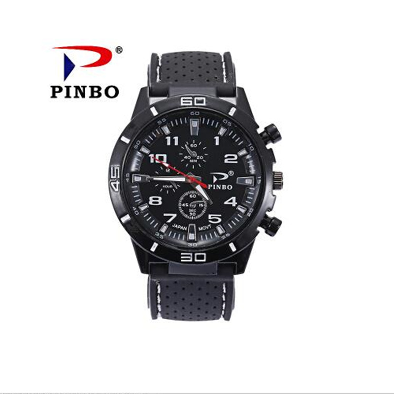 2017 Hot Sale New PINBO Brand Men Silicone Strap Military Wrist Watches Men Sports Racing Quartz Watch Relogio Masculino Clock new pinbo famous brand lamei flowers casual quartz watch women silicone jelly watches ladies clock relogio feminino hot sale