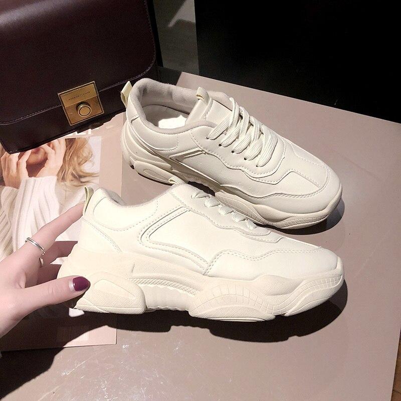 Kjstyrka 2019 basket femme mode printemps automne femmes baskets loisirs chaussures de sport couleurs pures chaussures à semelles compensées pour les femmes