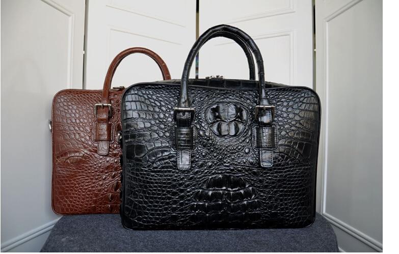 100% Genuine Crocodile Leather Skin  Briefcase Men Laptop Bag Luxury Alligator Leather Skin  Men Business Bag