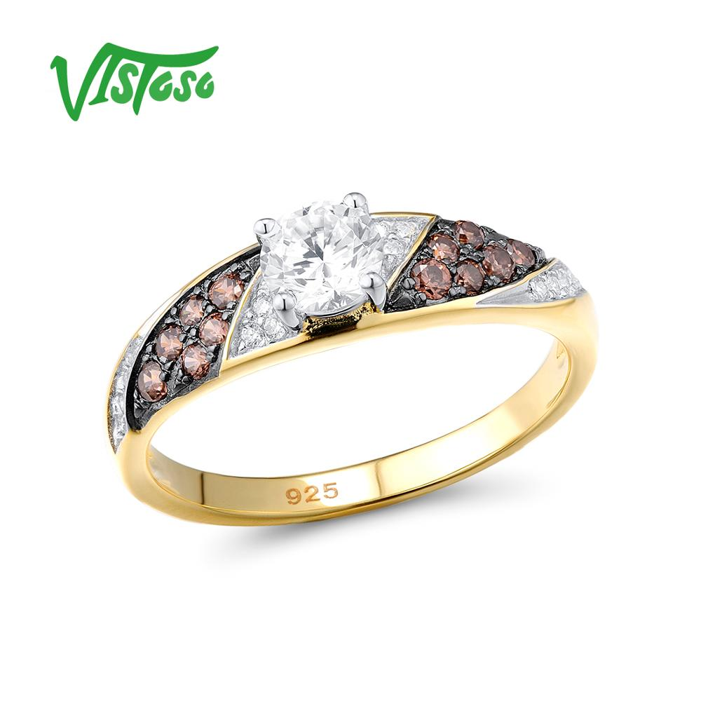 Silver Ring For Woman Chocolate Cubic Zirconia Ring Female 925 Sterling Silver Show Elegant Temperame Fine Jewelry