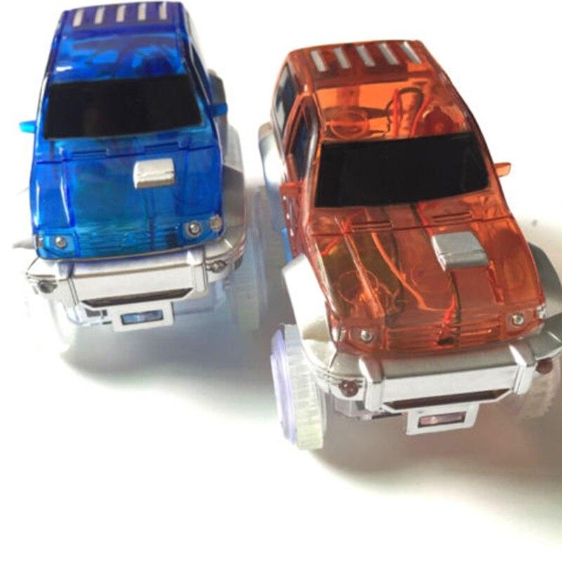 Dropshipping LED light up Car Flashing Lights Educational Toys For Children Boys Birthday Gift DIY Magic Track Toy cars
