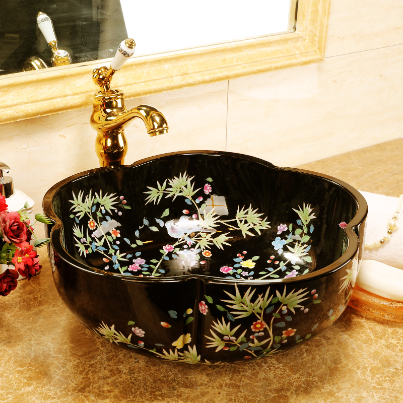 Europe style chinese wash basin Jingdezhen Art Counter Top ceramic basin sink vessel wash basin bathroom sinks (3)