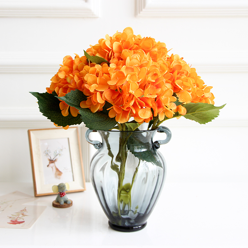 Wholesale Flowers For Weddings Events: Wholesale 100pcs Orange Hydrangea Display Flower Hydrangea