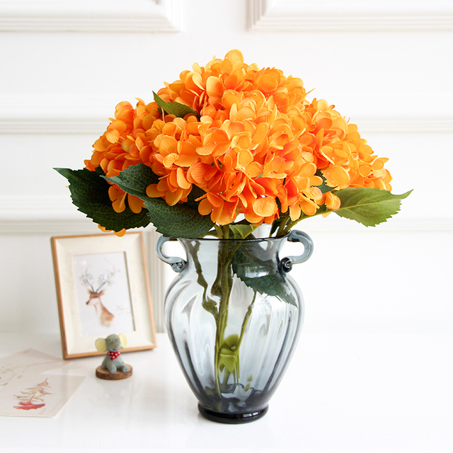 Wholesale 100pcs orange hydrangea display flower hydrangea home wholesale 100pcs orange hydrangea display flower hydrangea home artificial flower wedding party event silk flower free mightylinksfo