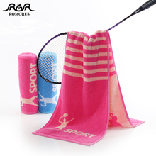 ROMORUS 100% Cotton 130G Sports Towel 27*110cm Rose Red/Blue Absorbent Badminton Long Gym Fitness Yoga Towels Wiping Sweat