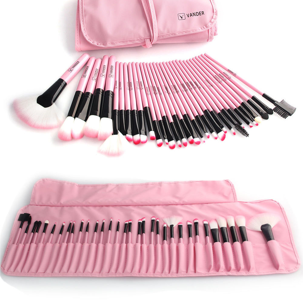 Professional Vander Pink Stylish 32/24pcs Set Cosmetics Eyebrow Shadow Powder Makeup Brush Set Tools Gift Kit & Pouch Bag GIFT kalencom buckle bag monique powder pink