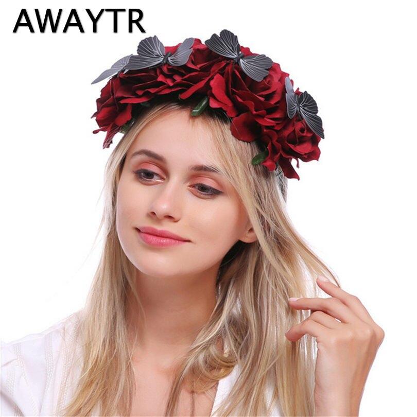 Awaytr Flower Crown Wedding Hair Accessories Women Butterfly Wreath