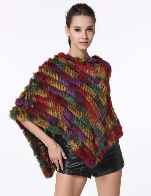 IANLAN Knitted Real Fur Shawl Womens Casual Colorful Ponchos Ladies Rabbit Fur Stoles Standard Length 65cm(25.59 inches)LIL00010