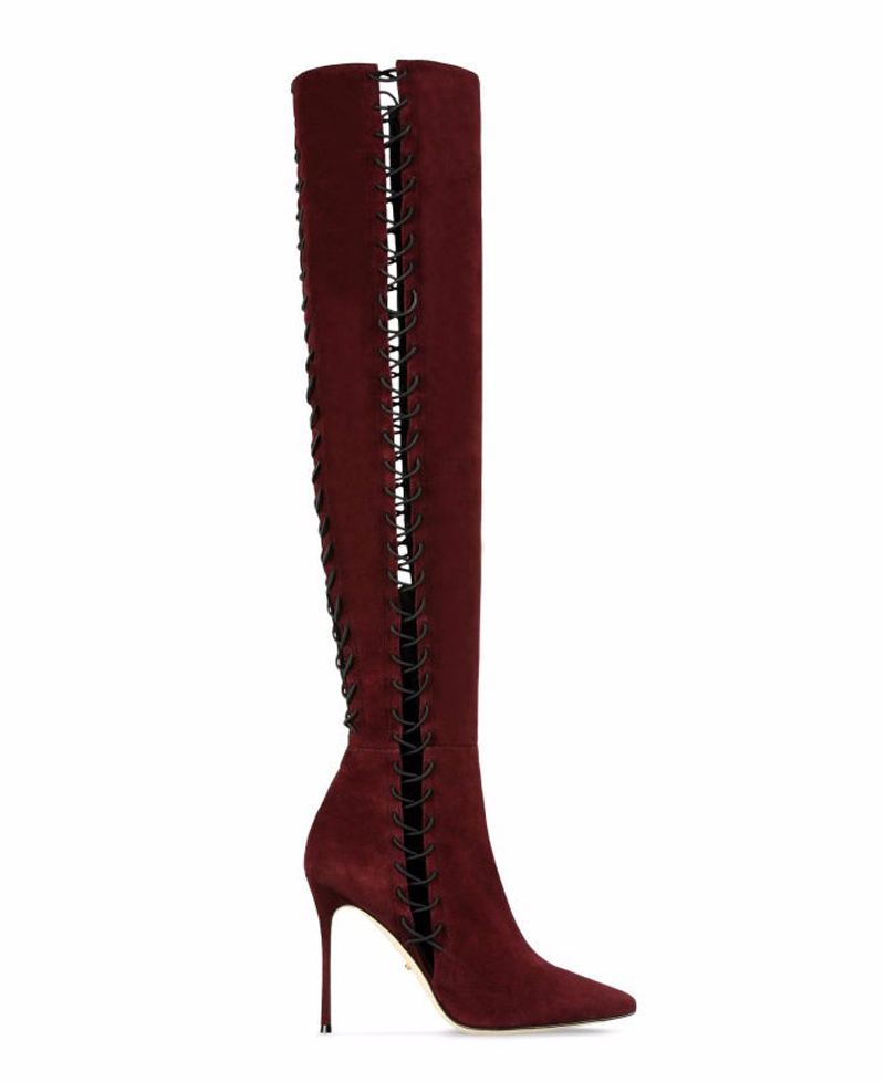 Printemps Bout Pointu out Style Haute Robe De Mode Gladiateur Cut Nouvelles Formelle Bottes Femmes Genou Chaussures Mince t4FxqwIxp