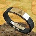 Topearl jóias maçonaria aço inoxidável maçônica pulseira de borracha MEB881