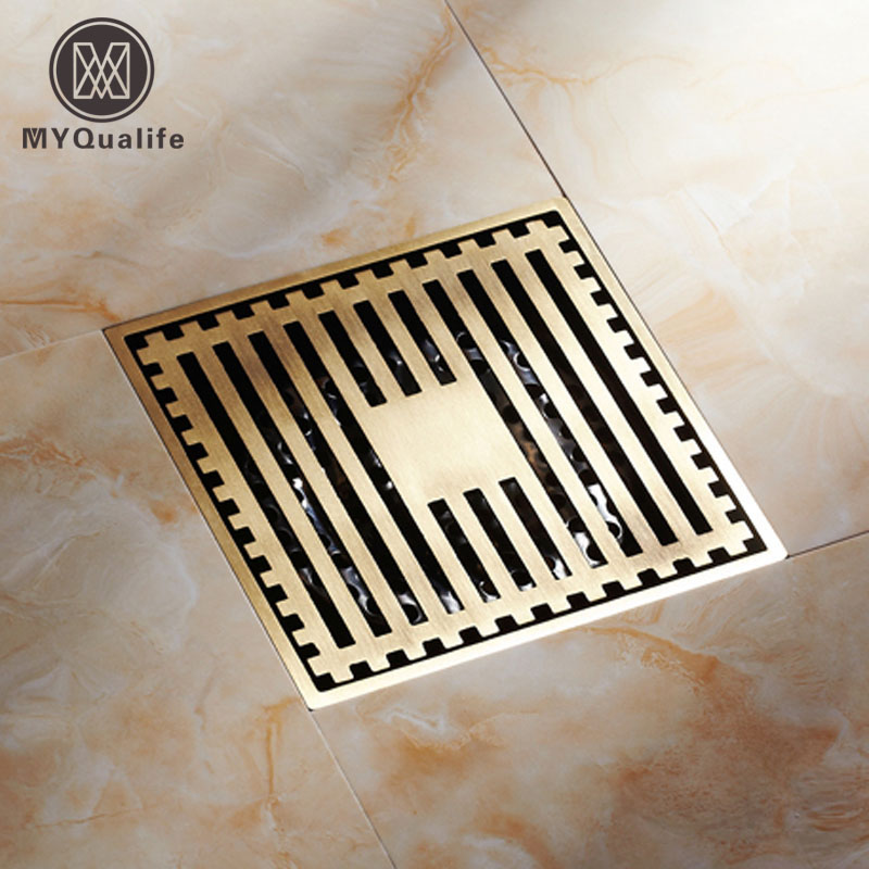 Free Shipping 10 cm Square Floor Waste Drain Antique Brass Bathroom Shower Grate Drain Bathroom Accessory free shipping high quality antique brass carved flower art bathroom accessory floor drain waste grate100mm 100mm yt 2110