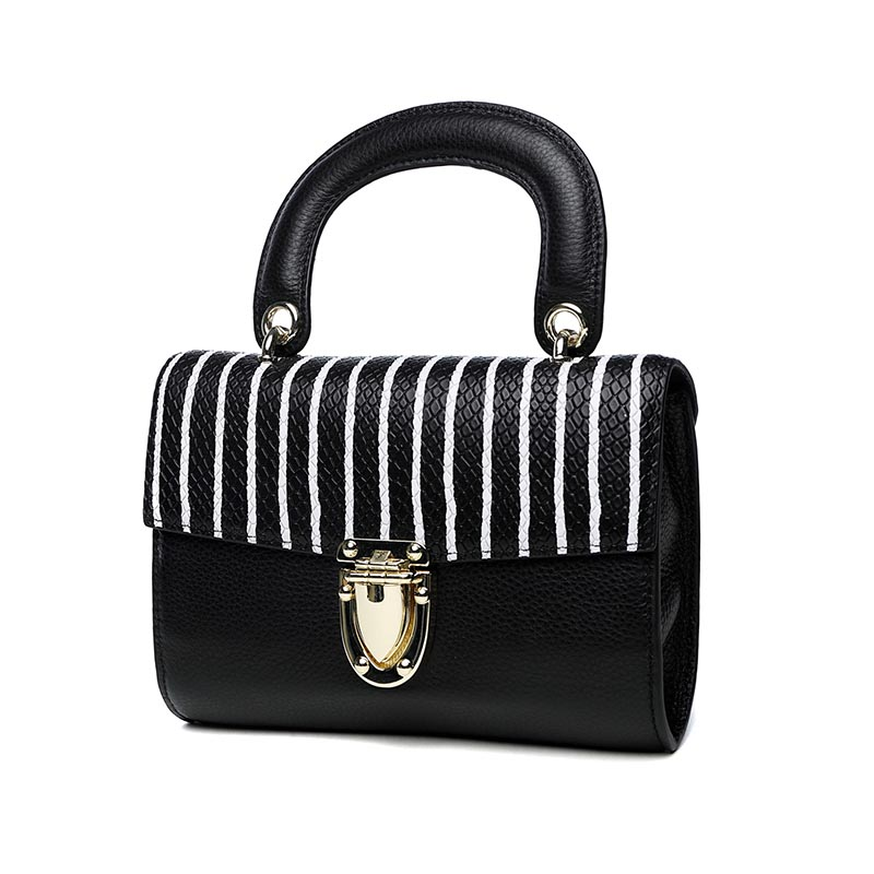 Striped Genuine Leather Women Top Handle Bag Small Messenger Shoulder Female Lock Handbag Simple Mini Flap Handbag Casual Totes retro leather women messenger bags small female shoulder bags luxury top handle bag leisure mini leather bolsos flap stb002