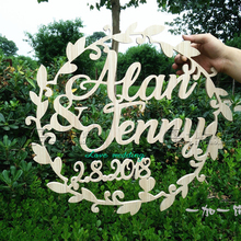 Wedding wooden chair sign garland shape wedding bride and groom table decoration