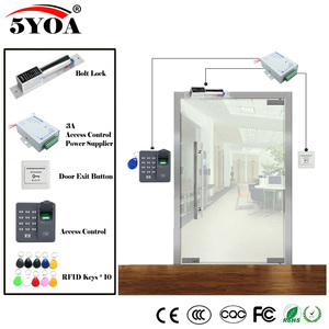 Image 2 - Impressão digital Sistema de Controle de Acesso RFID Kit Óculos De Madeira Conjunto Porta + Fechadura Magnética + ID Card Keytab + Fornecedor de Energia + botão