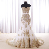Sexy Mermaid White And Gold Wedding Dress Cheap Real Photos Sweetheart Chapel Train Applique Lace Bridal Dress For Women Girls