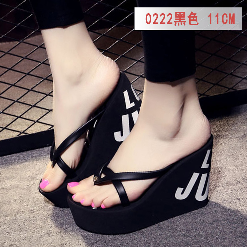 Summer beautiful ladies super high-heeled platform flip-flops11cm beach shoes slippers wedding slippers women shoes luxury