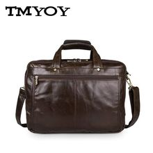 TMYOY 100%  Genuine Leather Bag Men Shoulder Bags 3 Pockets Brand Briefcase Business Men's Travel Bags Men Messenger Bags BG520