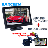5Color lcd car display monitor with black shell car rear reversing camera glass lens material fit into kinds of cars