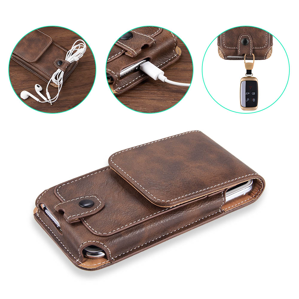 Universal Pouch Leather phone Case For iphone6 XS X 7 8plus Waist Bag Magnetic holster Belt Clip phone cover for redmi note 8pro(China)