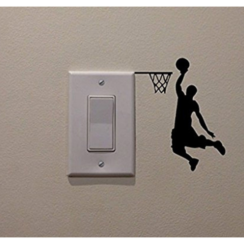 Cartoon Basketball Player Dunk Wall Sticker For Home Decorative Vinyl Living Room Wall Decor Decals Switch Stickers