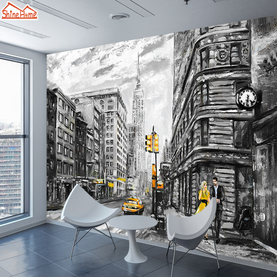 ShineHome-Black White Wallpapers For Walls 3 D Living Room Bedroom Wallpaper NYC Skyline City Building Cafe Wall Paper Covering