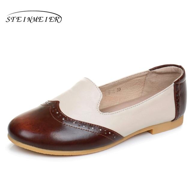 Cuero genuino de la vaca vaca la diseñador vintage mujeres zapatos hecho a  e52e31 112fe5cf00b