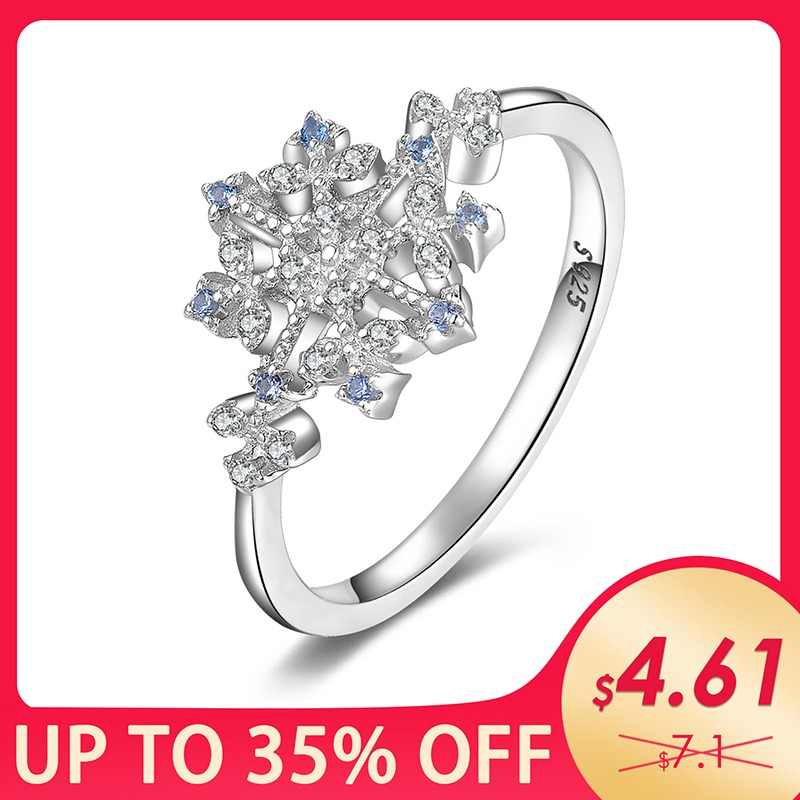 JewelryPalace Winter Love Created Light Blue Spinel Cubic Zirconia Snowflake Promise Ring 925 Sterling Silver Hot Trendy Jewelry