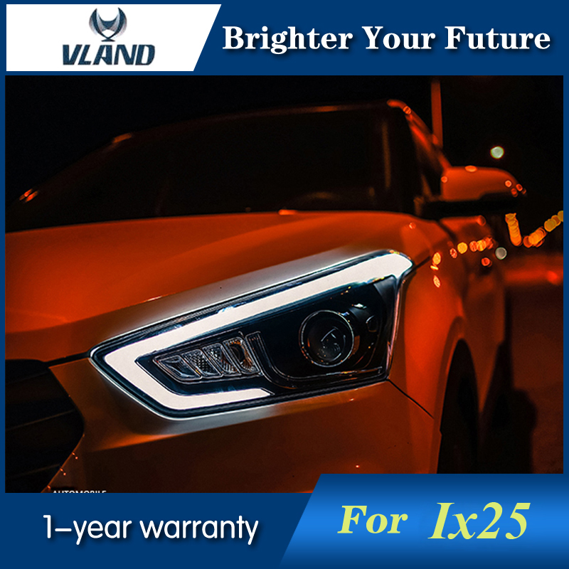 2Pcs Headlights For Hyundai Creta 2015 LED Headlight IX25 Head Lamp LED Daytime Running Light LED DRL Bi-Xenon HID hireno headlamp for 2015 2017 hyundai ix25 crete headlight headlight assembly led drl angel lens double beam hid xenon 2pcs