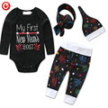 Baby Boys Clothing 4pcs/Set My Girst New Year 2017 Printed Infantil Long Sleeve Romper+Hat+Headband+Pants Clothing Suits 4-24M