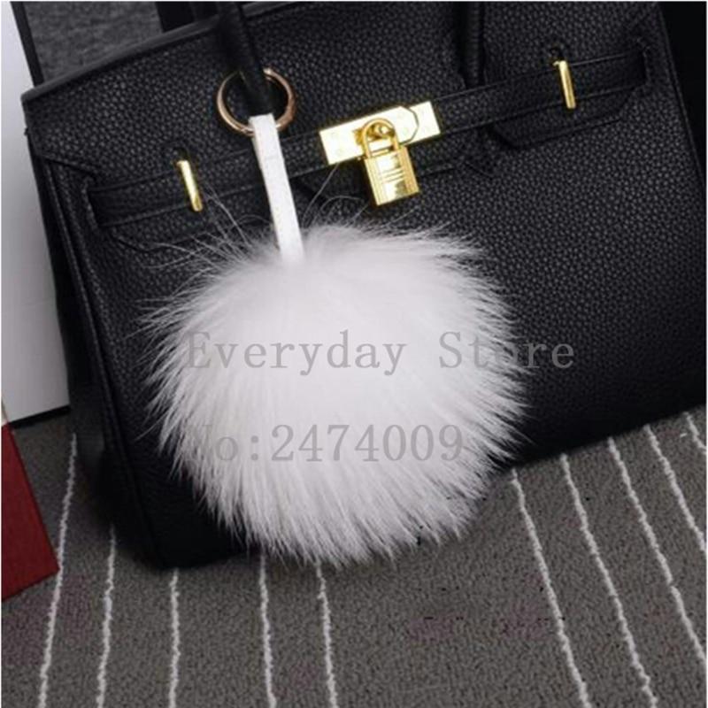 Ylellinen 15cm fluffy pesukarhu turkispallo avaimenperä todellinen - Muotikorut - Valokuva 3