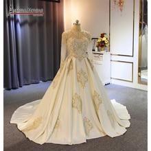 2019 Müslüman saten düğün elbisesi ile yüksek boyun çizgisi altın dantel