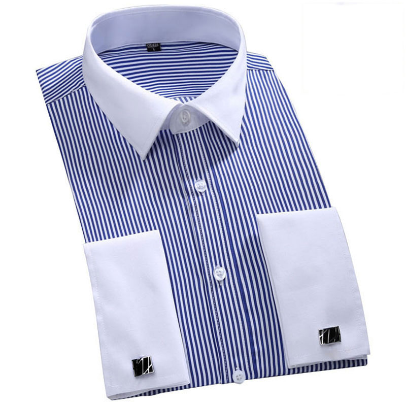 Men French Cufflinks Shirt Vertical Striped Fashion Design Elegant Tuxedo Shirt Men Casual Slim Fit Long Sleeve Formal Chemise