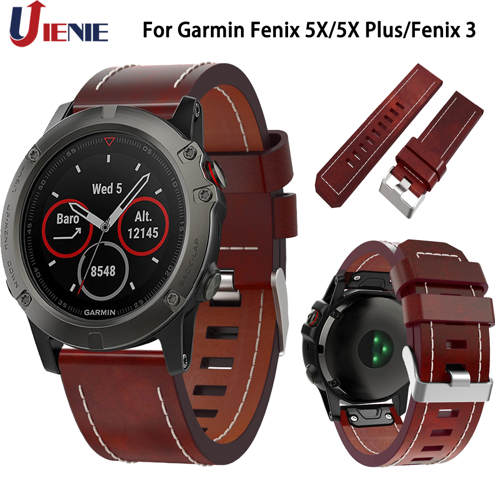 Leather Watchband Strap For Garmin Fenix 6X/5X/5X Plus/3/3HR Smart Watch Band 26mm Quick Fit Replace Wrist Bracelet For Fenix 5X
