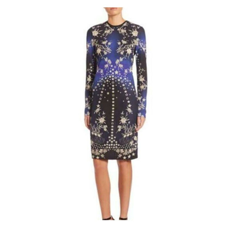 Jersey En 312 Manches Nouveau 1 Bleu Z Femmes Fleurs Longues Stretch De Robe Imprimer Soie Mode Printemps MpqSUVGz