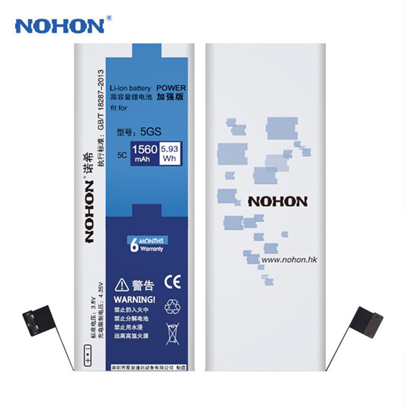 Original NOHON Battery For iPhone 5S 5 S 1560mAh High Capacity Replacement Batteries On For Battery Apple iPhone 5S Tools Kits