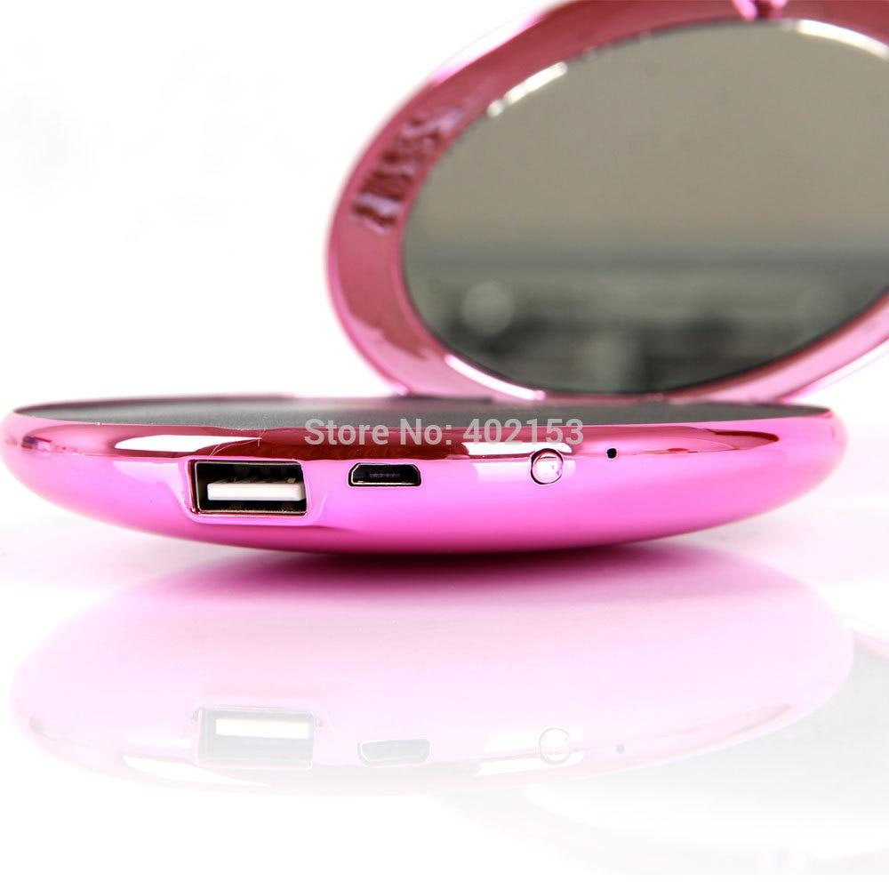 bilder für NEUE Mode Dame Kosmetikspiegel Stil 7000 mAh USB External Power Bank Für Lade Rose #230663
