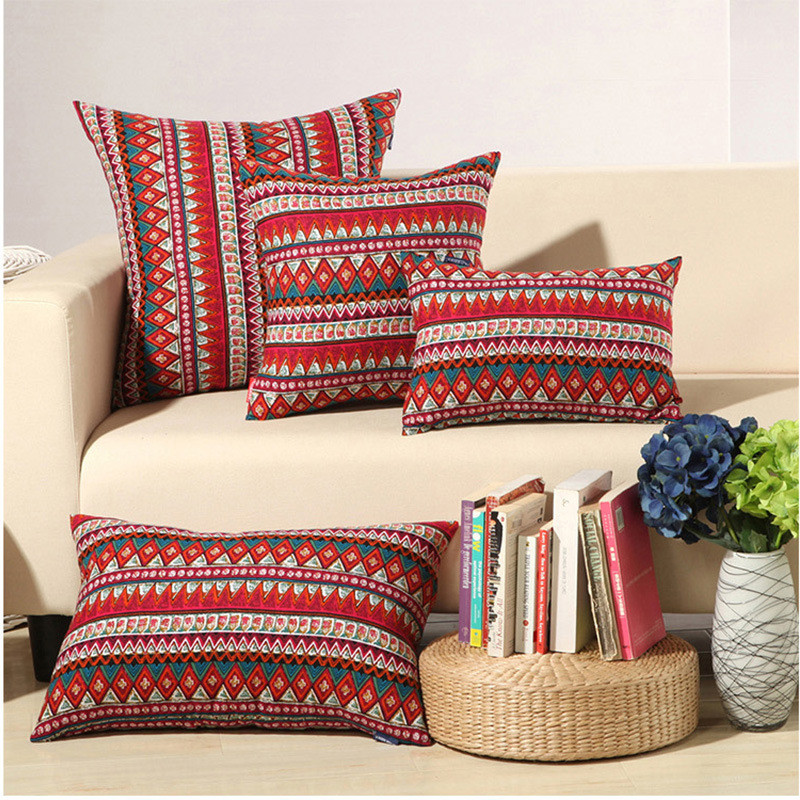 Cojín de geometría de estilo bohemio de tres tamaños sin interior - Textiles para el hogar