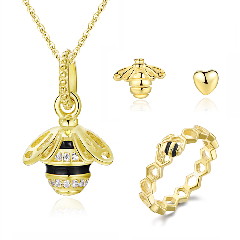 Original 100% 925 Sterling Silver Jewelry Sets Queen Bee Pendant Necklace Heart Honeybee Stud Earrings Ring Shine Gold For Women frsky v8fr ii 2 4g 8ch receiver hv version