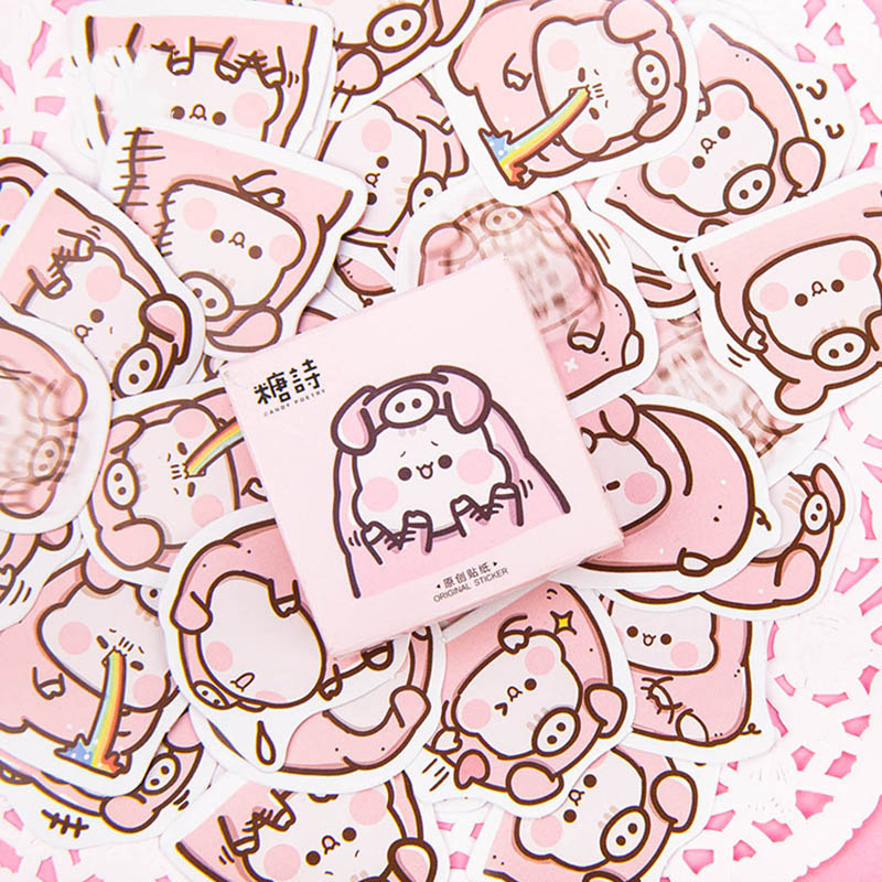 45pcs Kawaii Pig Stickers Cute Stickers Pink Paper Adhesive Stickers For Kids DIY Scrapbooking Diary Photos Albums Classic Toys