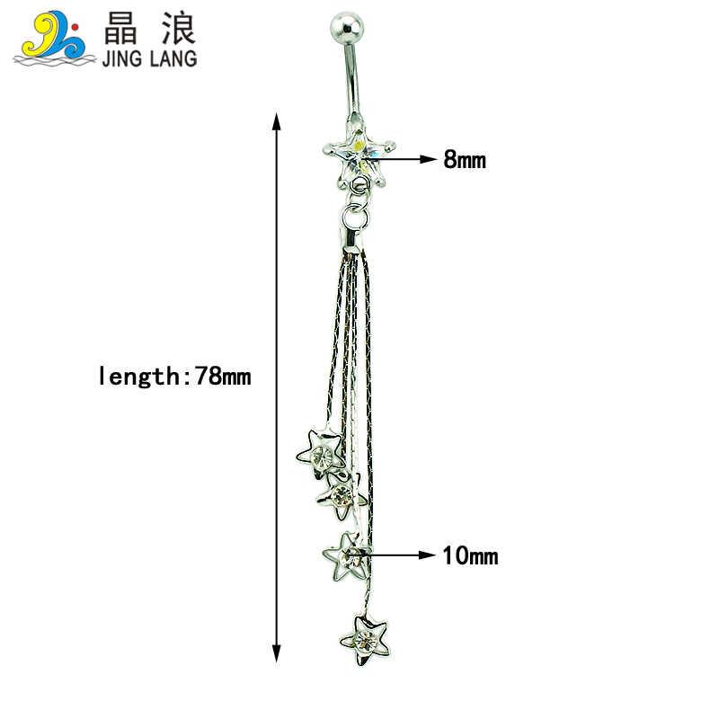 JINGLANG Barbells Piercing Do Corpo Moda Umbigo Anéis de Aço Cirúrgico Oscila Branco Cadeia de Strass Estrela Umbigo Anéis Jóias